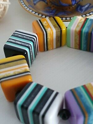 Jackie Brazil Sobral Chunky Multicolour Resin Cube Bead Stripe Stretch Bracelet • 26£