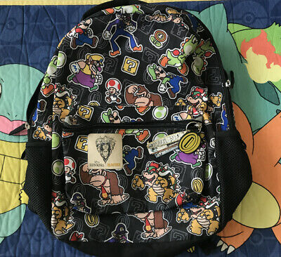 £10.88 • Buy Super Mario All Over Print Nintendo Backpack School Book Bag Lion King Patch