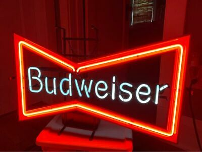 $ CDN663.57 • Buy Vintage Original Anheuser Busch Budweiser Bowtie Beer Neon Sign 1990 WoW CLEAN