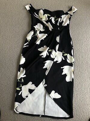 AU15 • Buy Asos Black And Floral Off The Shoulder Drape Dress Size 14