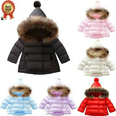 Winter Baby Girl Boy Warm Hooded Jacket Faux Fur Parka Down Outwear Cotton Coat • 17.99£