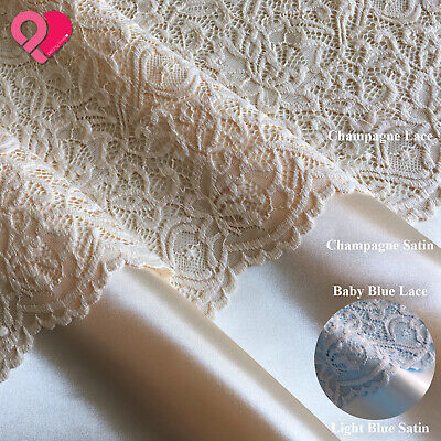 £6.53 • Buy 60  NYLON FLORAL LACE FABRIC Bridal Soft Drapey Stretch Scallop 65  Satin Thick
