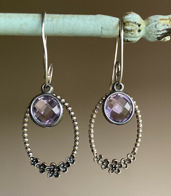 RETIRED Amethyst Authentic Pandora Wanda's Garden Drop Earrings Stunning • 149£