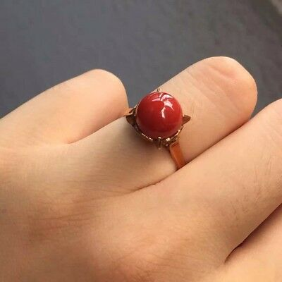 Beautiful Vintage Red Coral And Hallmarked 18ct/18k Yellow Gold Ring, Size I • 589.99£