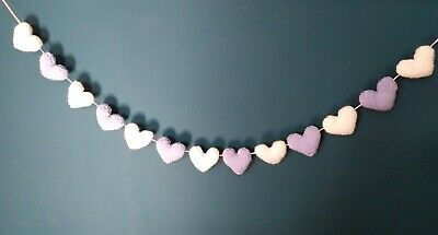 £8.75 • Buy Knitted Lilac & White Heart Bunting For Nursery / Wedding. Handmade 1.3m