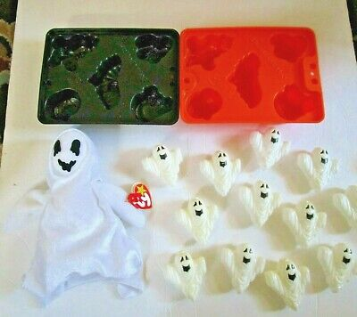 $ CDN15.86 • Buy Vintage Halloween Plastic Ghost Light Cover Jello Jigglers, Ghost Plush Lot
