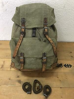 1950 Swiss Army Military Backpack Rucksack Canvas Leather Vintage • 61.56£