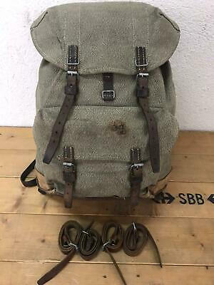 1962 Swiss Army Military Backpack Rucksack Canvas Leather Vintage • 61.56£