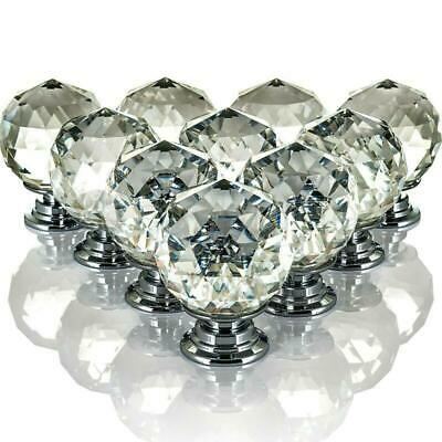 10 Crystal Glass Door Knobs Diamond Drawer Cabinet Furniture Handle Knob Kitchen • 9.45£
