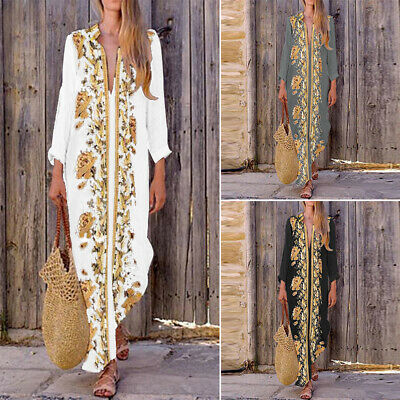 AU13.94 • Buy ZANZEA Women Plus Size Printed Caftan Kaftan Side Slit Long Maxi Floral Dress