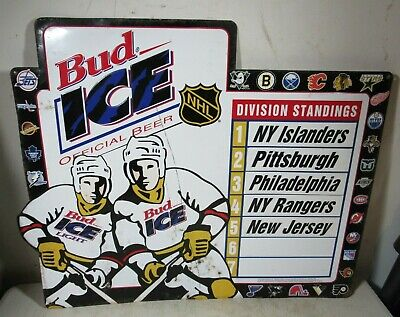 $ CDN316.53 • Buy Large Vintage 1995 Budweiser Beer Bud Ice NHL Hockey Metal Standings Sign