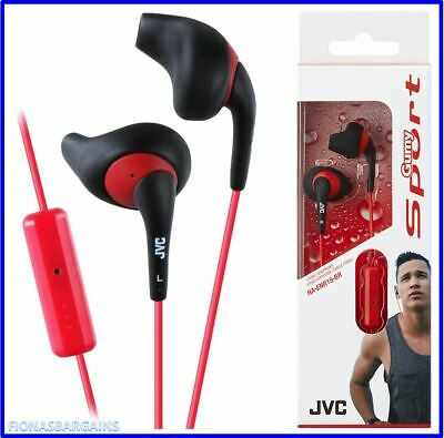 NEW & SEALED JVC HA-ENR15-BR Gumy Sports Earphones With Remote & Mic Red / Black • 14.50£