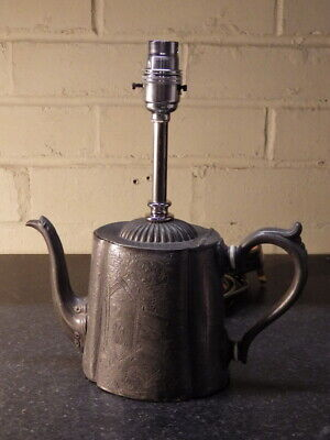 VICTORIAN Decorative Upcycled Antique Metal TEAPOT LAMP (Light) • 45£