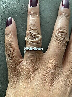 Sterling Silver Cz Full Eternity Ring Size N • 10.50£