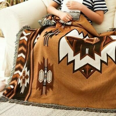 Large Navajo Indian Rug Aztec Cotton Throw Bed Cover Blanket Wall Tapestry KILIM • 25.99£