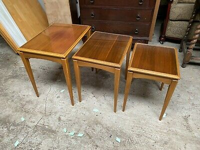 £34.43 • Buy Vintage Nest Of 3 Wooden Tables With Glass Tops