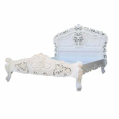 Rococo 5FT King Size Mahogany Carved White Painted Bed • 799£