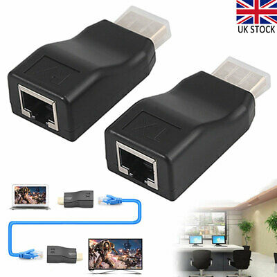 2pc 1080P HDMI Signal Extender To RJ45 Over Cat 5e/6 Network Ethernet Adapter 4K • 6.56£