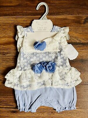 £12.97 • Buy 6-9Mos Kyle & Deena Baby Girl Infant Headband & Romper Ivory Lace Baby Blue