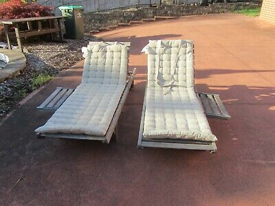 AU119.99 • Buy Two TIMBER SUN LOUNGE / POOL LOUNGE With Cushions And Side Tables
