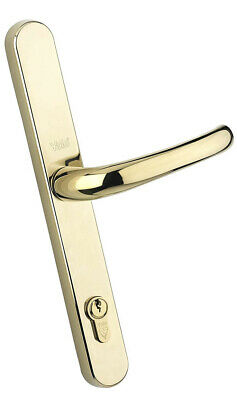 YALE 2 PAIRS (4 Handles) UPVC DOOR HANDLES POLISHED BRASS FINISH 240mm • 49.99£