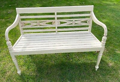 Solid Wood Bench Cream Distressed Painted Indoor / Hall / Reception Ornate • 225£