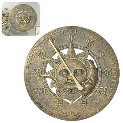 £19.95 • Buy Stunning Gold Sun & Moon Face 12inch Round Wall Clock W/ Thermometer Gauge Decor
