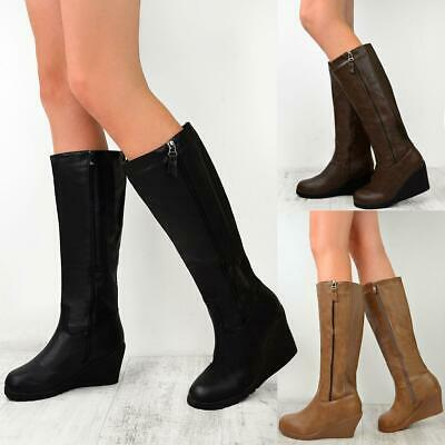 Ladies Womens Winter Fur Lined Knee High Snow Grip Sole Brown Riding Boots Size • 22.99£