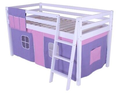 Cabin Bed Shorty 2ft 6  Mid Sleeper Loft Bunk Tent Girls New White Frame  • 149.95£
