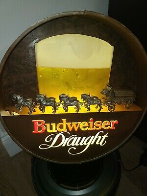 $ CDN177.75 • Buy 1981 Budweiser Draught Beer Mug Barrel Clydesdale Horses Anheuser Lighted Sign