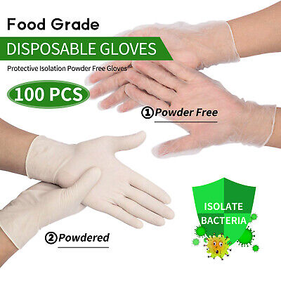AU13.99 • Buy 100Pcs Disposable Gloves Clear/Transparent Non-Sterile Powder SGS CE Certificate