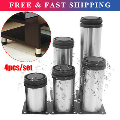 4x Adjustable Cabinet Legs Stainless Steel Furniture Feet Rounds Stand Support • 12.49£