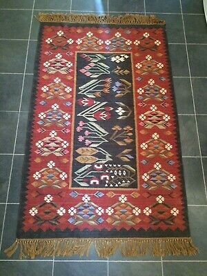 Vintage Rug 100% Wool With Flower Pattern English Cottage • 67£