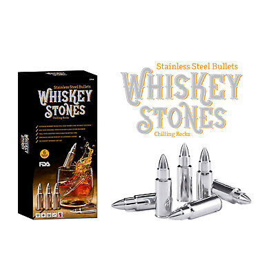 6PC Stainless Steel Whiskey Stone Bullet Shaped Chilling Rocks Reusable Ice Cube • 11.95£
