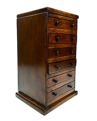 Antique Wooden Collectors Cabinet / Box / Chest Of Drawers / Rocks Coins Shells • 210£