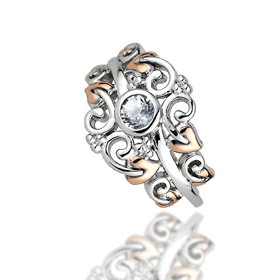 White Topaz Silver Band Tree Of Life Welsh Rose Gold Clogau Ring Size N • 89.99£