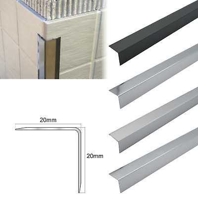 20x20m Aluminium Retro-Fit Tile Trim Angle Edge Protector Cladding Corner Trim  • 10.99£