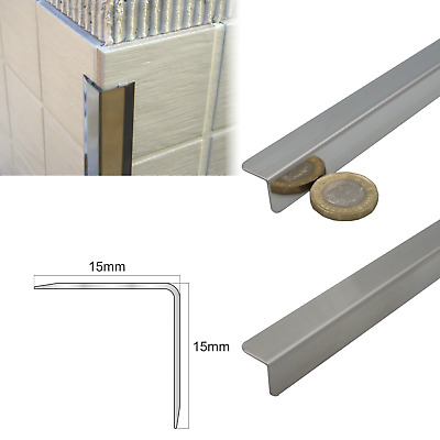 15x15 Stainless Steel Tile Trim  Angle Wall Protector Cladding Corner Trim   • 20.99£