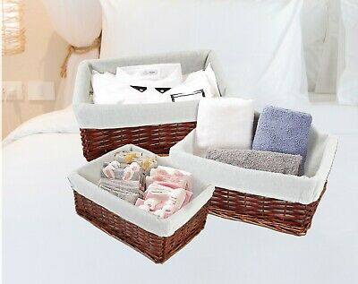 Wicker Willow Storage Baskets Lining Easter Gift Liner Woven Handmade Set 3 Size • 15.95£