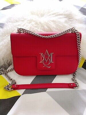 AU1288 • Buy Alexander McQueen Red Silver Chain Bag