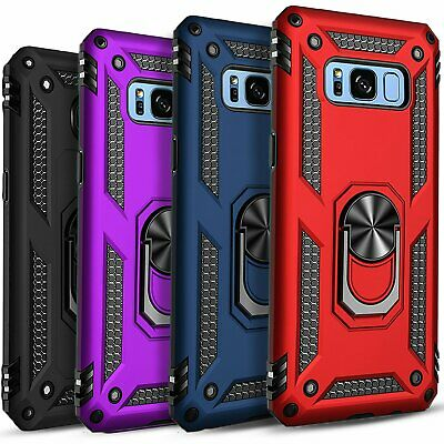 $ CDN12.44 • Buy For Samsung Galaxy S8 / S8 Plus Case, Ring Kickstand + Tempered Glass Protector