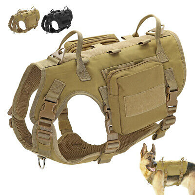 AU46.99 • Buy Military Tactical Large Dog Harness No Pull K9 Dog MOLLE Training Vest & Pouches