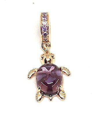 £18.99 • Buy 🦋💜 STERLING SILVER 925 ROSE GOLD Pl PURPLE MURANO SEA TURTLE CHARM &GIFT POUCH