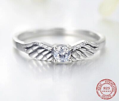 New Angel Wings Feather Cz Stone Ring Genuine 925 Sterling Silver Size 60 • 15.99£