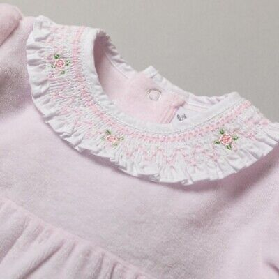 £12.95 • Buy Baby Girls Pink Velour Romper Spanish Romany Embroidered Smocked Traditional NEW