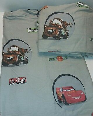 Disney Cars 2 Pc Piston Cup Bed Sheet Set Flat Fitted Lightning McQueen Towmater • 9.23£