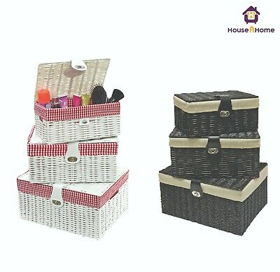 Set Of 3 Resin Woven Wicker Willow Storage Baskets With Lid & Lock Gift Hamper • 20.95£