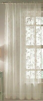 £24.99 • Buy Sold In Pairs Ivory Cream Gold Textured Floral Voile Slot Top Curtain Panels