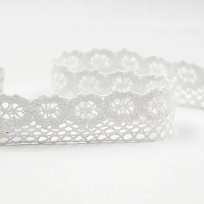 COTTON CROCHET LACE TRIM WHITE VINTAGE 25mm WEDDING Narrow Edging Sunflower Trim • 2.49£