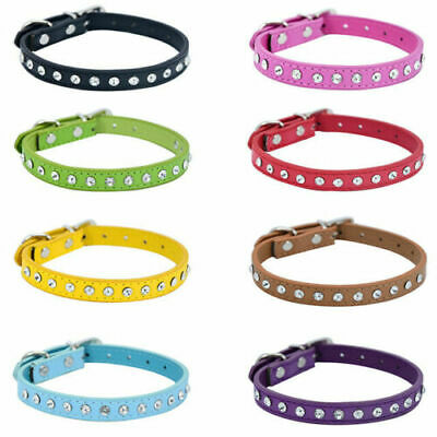 Diamante Crystal Bling Cat Collar Adjustable Soft Leather Cat Royalty Soft  • 2.55£